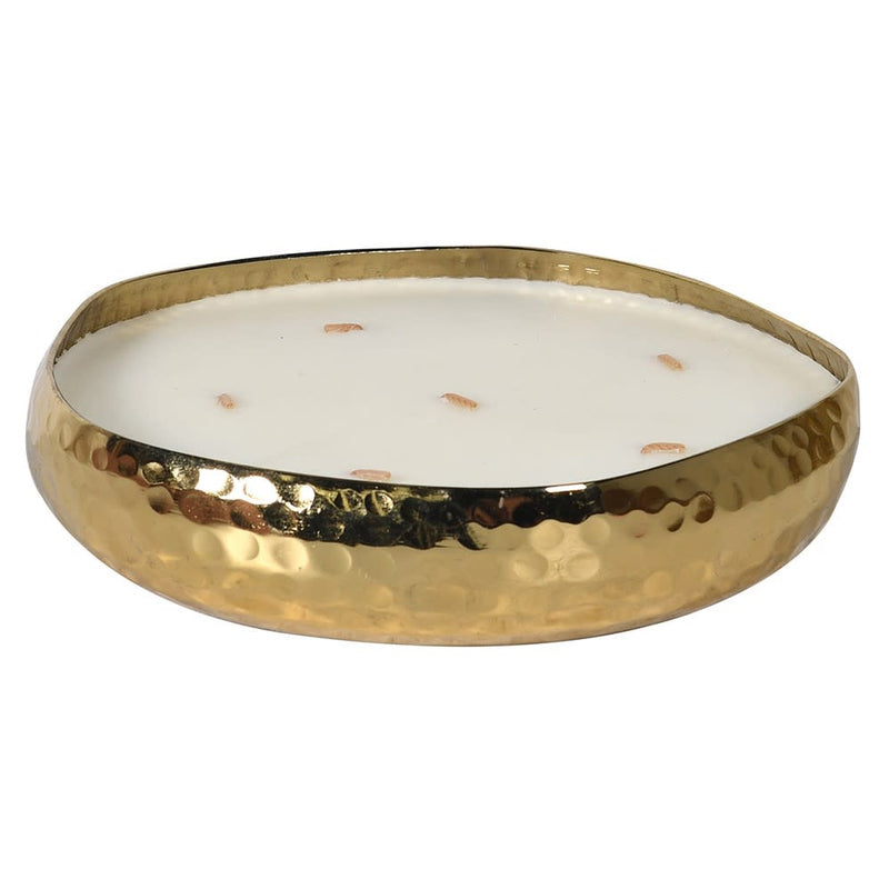 Balsam forest candle in hammered gold metal dish