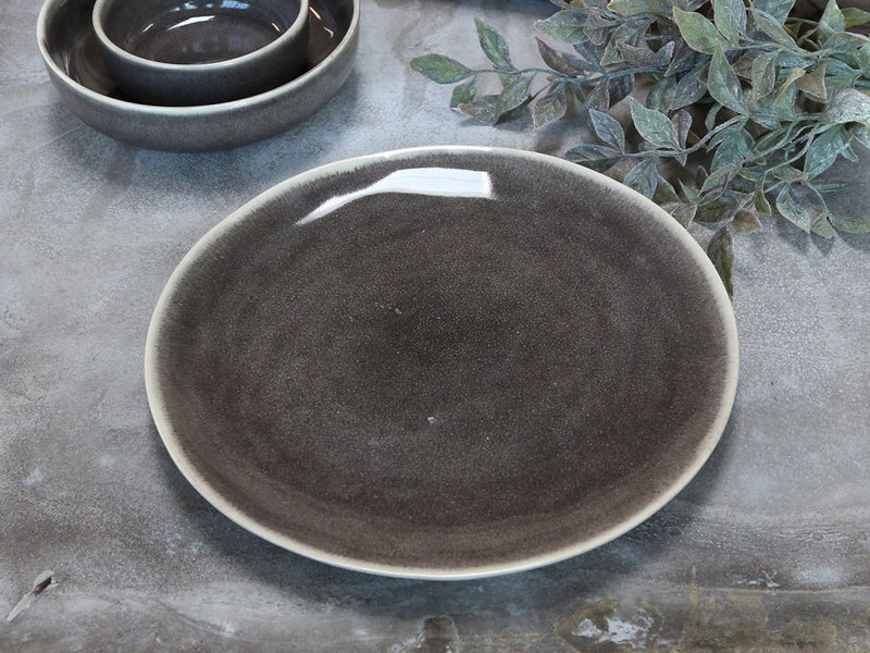 Rustic Glazed Grey Dinner Plate