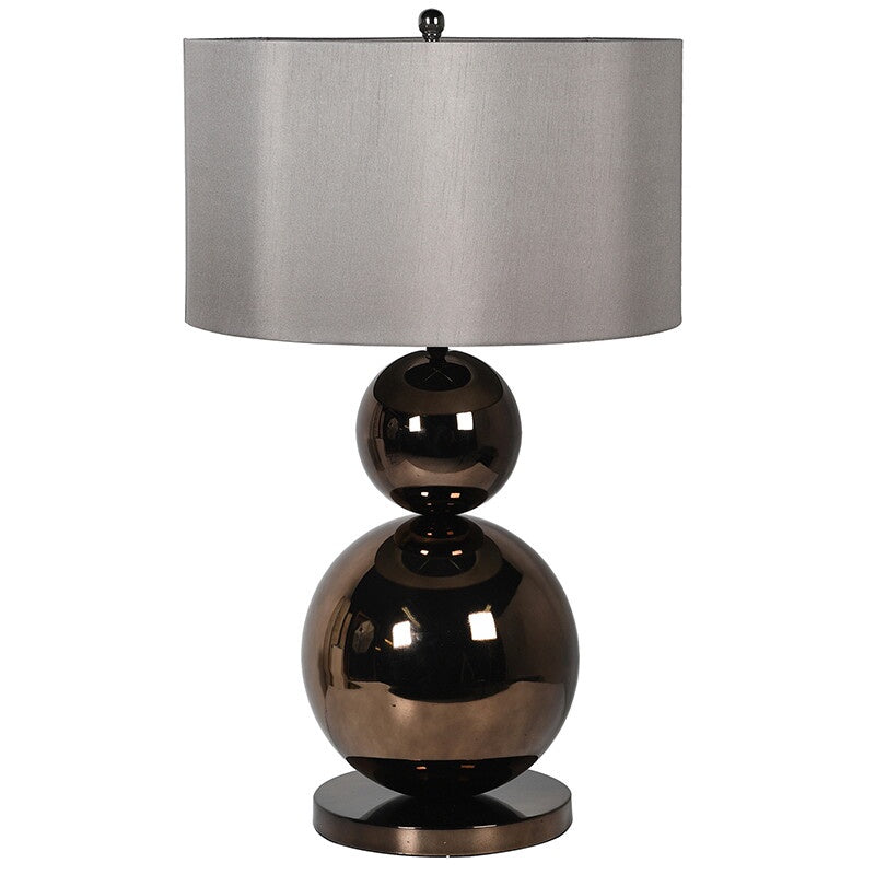 Tall bronze metallic ball lamp