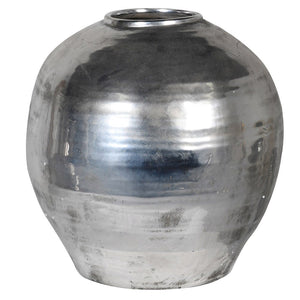Silver distressed ceramic vase