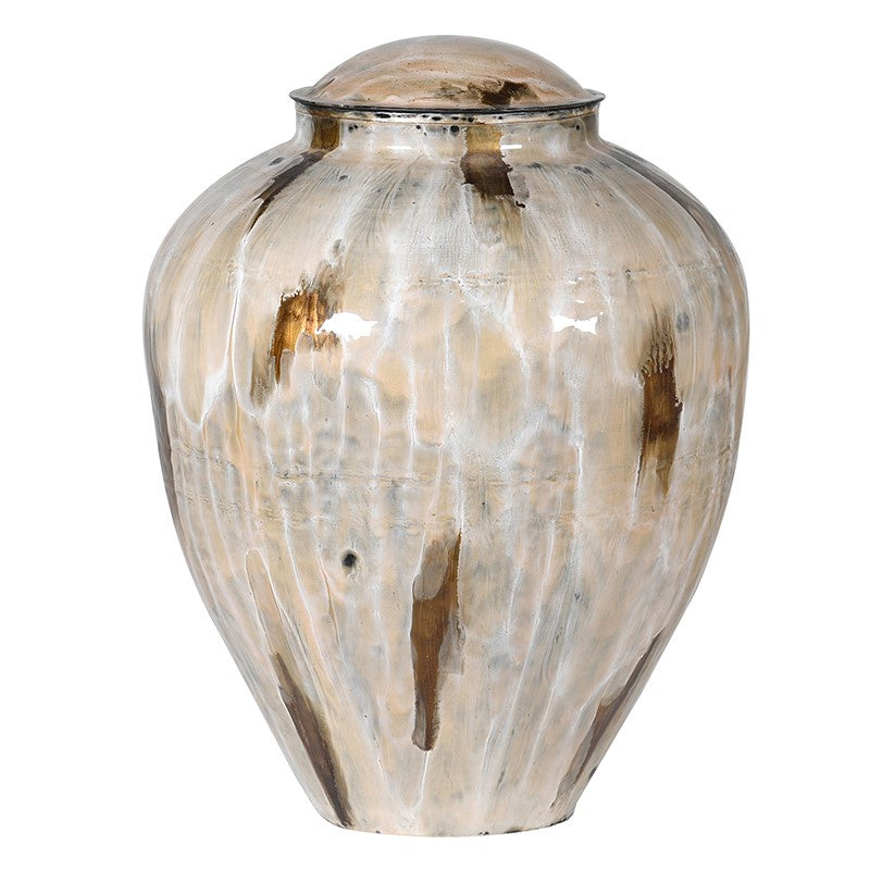 Large Coffee Enamel Vase