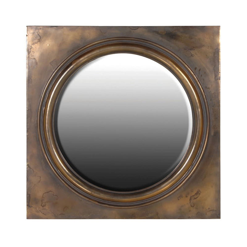 Antiqued brass circular mirror in square frame