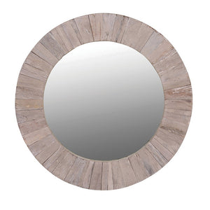 Chunky round wooden mirror