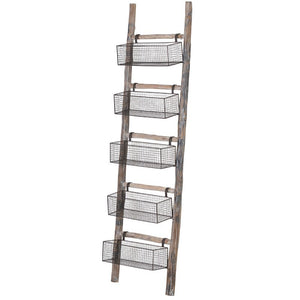Wooden Ladder Wth 5 Wire Baskets