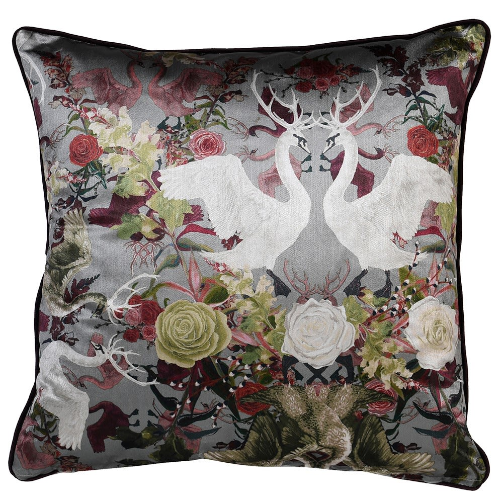 Swan and Stag Floral Cushion