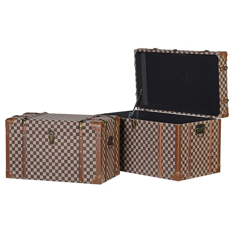 Set Of 2 Check Fabric Trunks