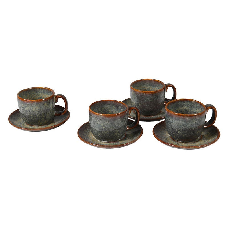 Set of 4 ceramic espresso cup and saucer