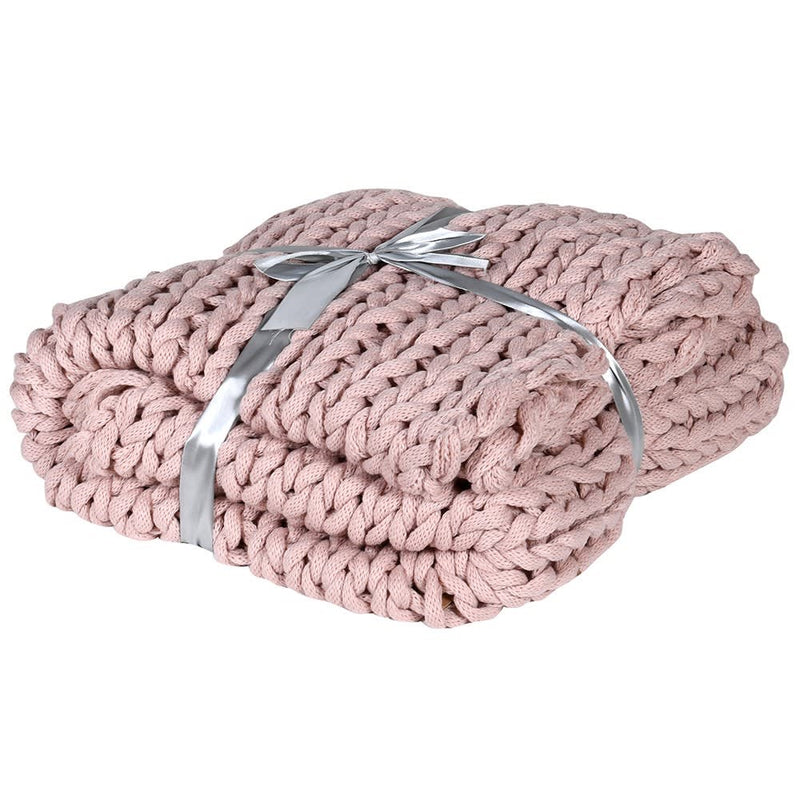 Rose Pink Chunky Knitted Blanket