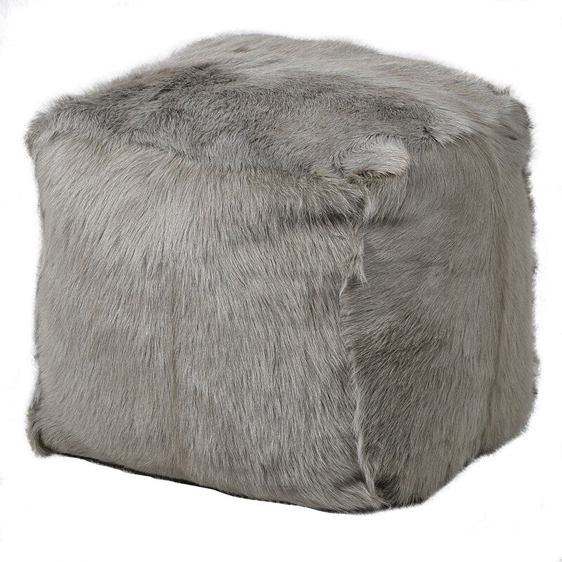Soft grey goat fur square pouf