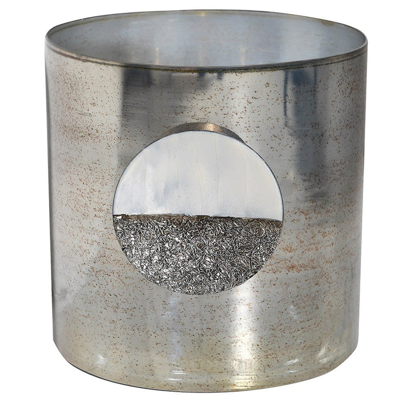 Silver disc detail candle holder