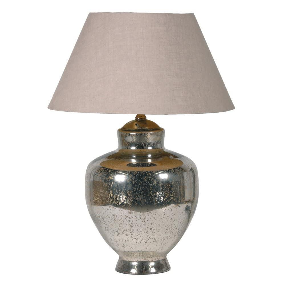 Aged silver lamp with shade