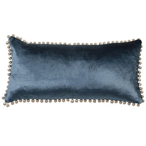 Blue velvet oblong cushion with pom pom edge