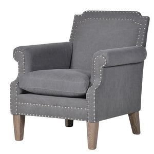 Grey Studded Armchair