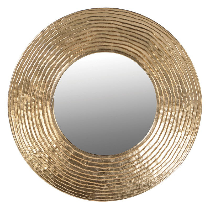 Gold textured circular wall mirror