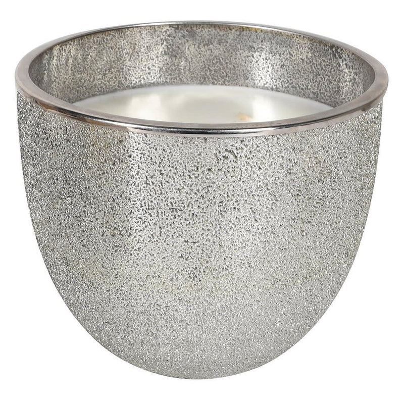 3 wick candle in silver glitter bowl
