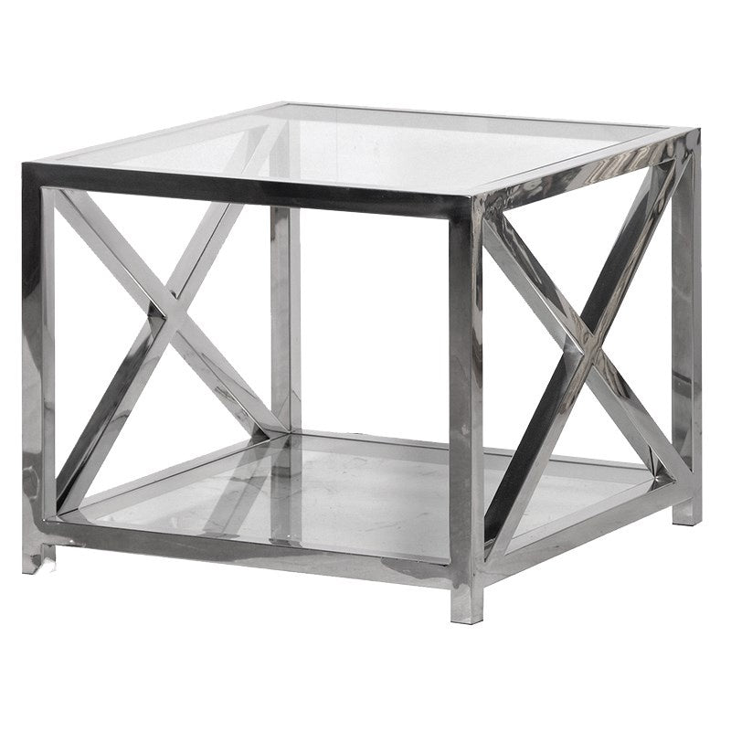 Square glass end table