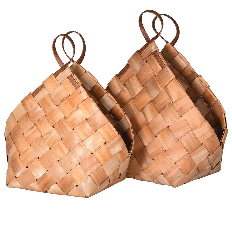 Set of 2 brown woven baskets