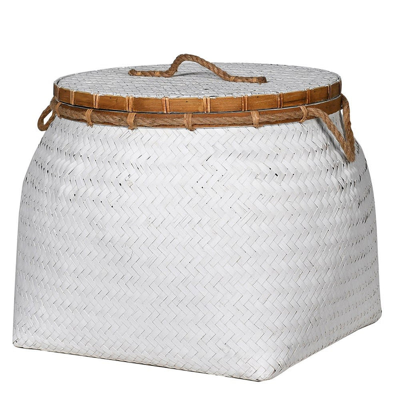 White Rattan lidded basket