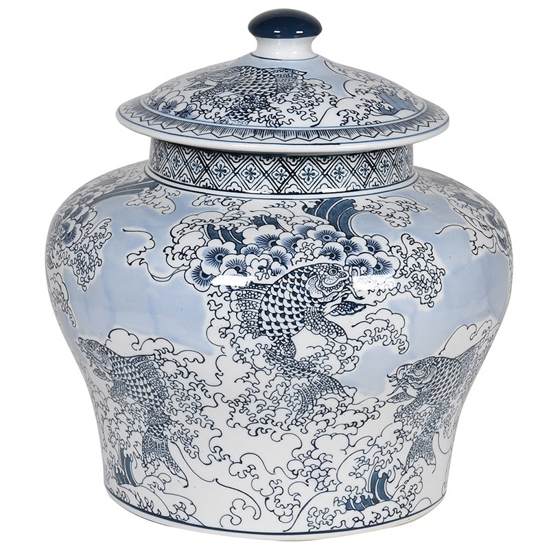 Blue And White Chinese Carp Lidded Jar