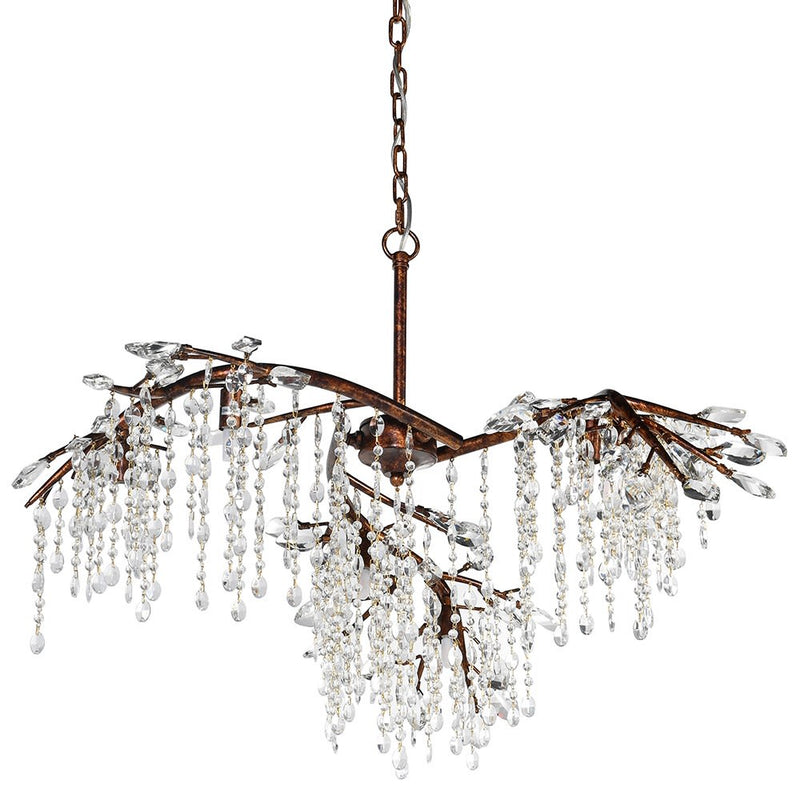 Bronze branch chanderlier with crystal drops