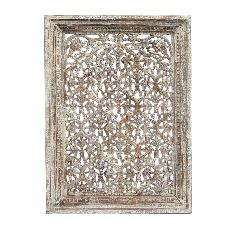 Cream wooden carved wall panel