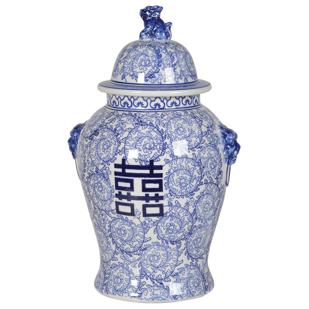 Large blue and white chinese style temple jar