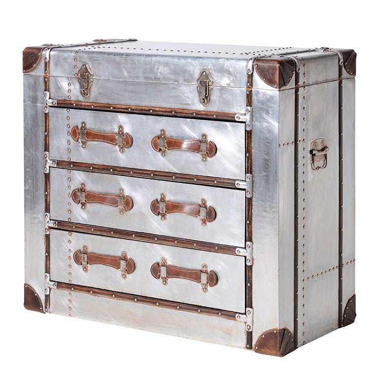 Silver metal 3 Drawer Trunk Chest with brown Straps