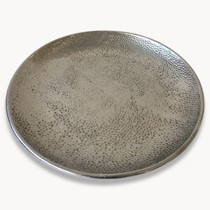 Large Silver Hammered Platter