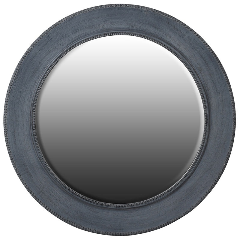 Circular charcoal wall mirror with this decorative edge