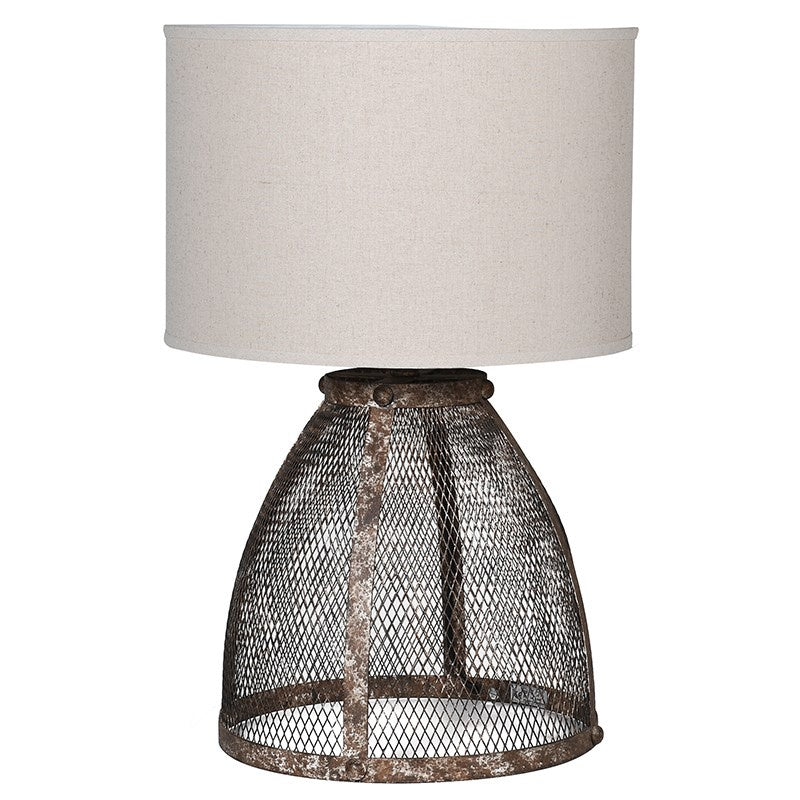Rust mesh table lamp