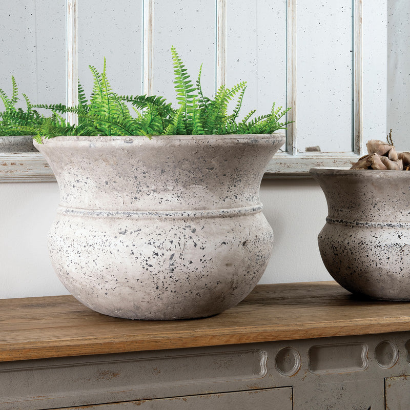 Large wide neck stone planter