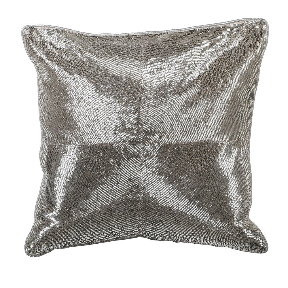 Hand embroidered silver square cushion