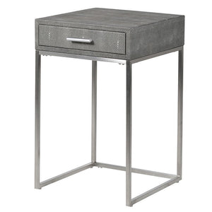 Faux shagreen grey side table
