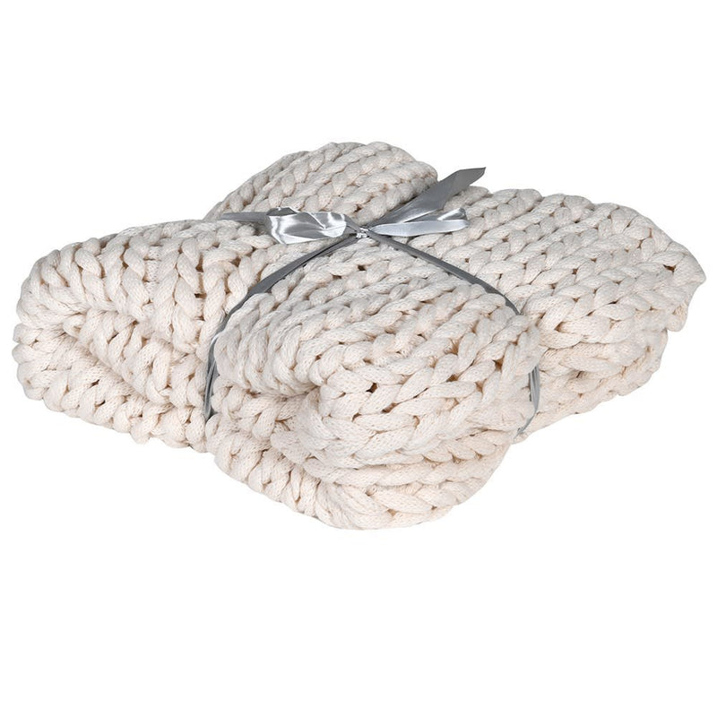 Winter White Chunky Knitted Blanket