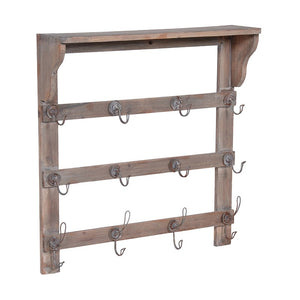Wood shelf with hooks