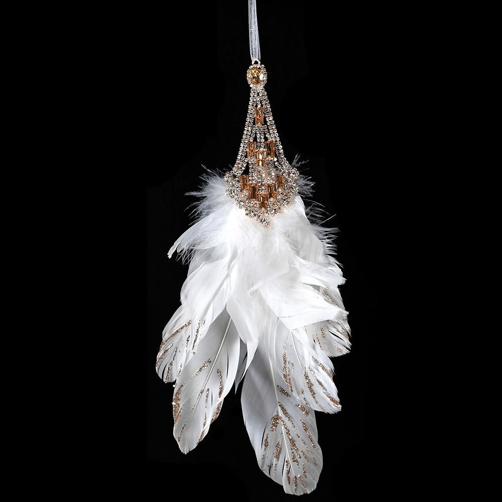 Gold Jewel Feather Hanging Decoration