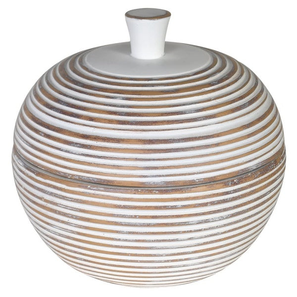 White and natural ribbed jar