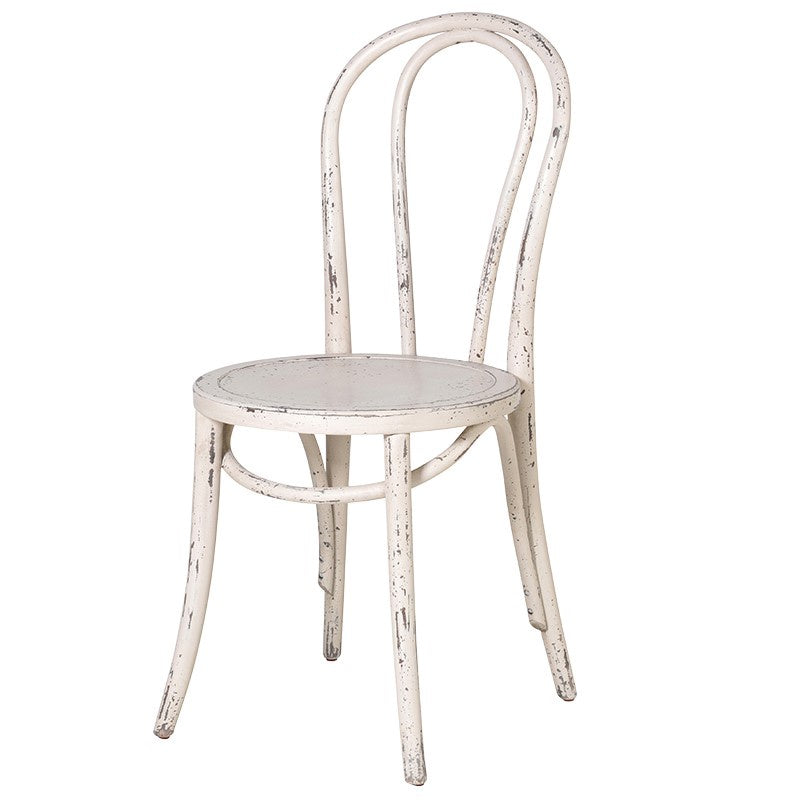 White Distressed Bistro Dining Chair