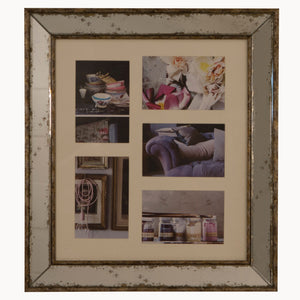 Antiqued glass 5 aperture 4x6 photo frame