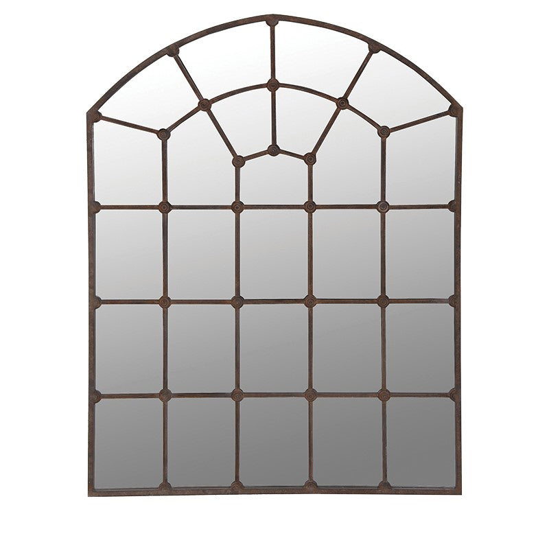 Metal arch window mirror