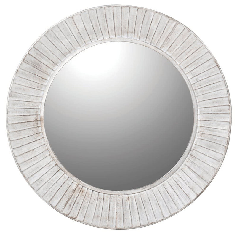 White washed metal round mirror