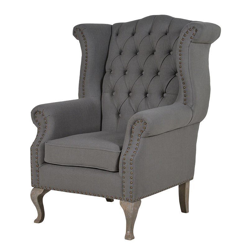 Grey Studded Buttoned Back Armchair