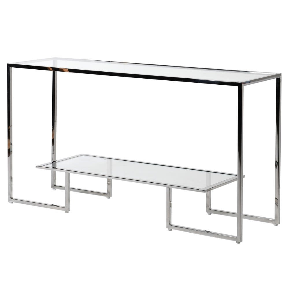Steel and glass  shelf console  table
