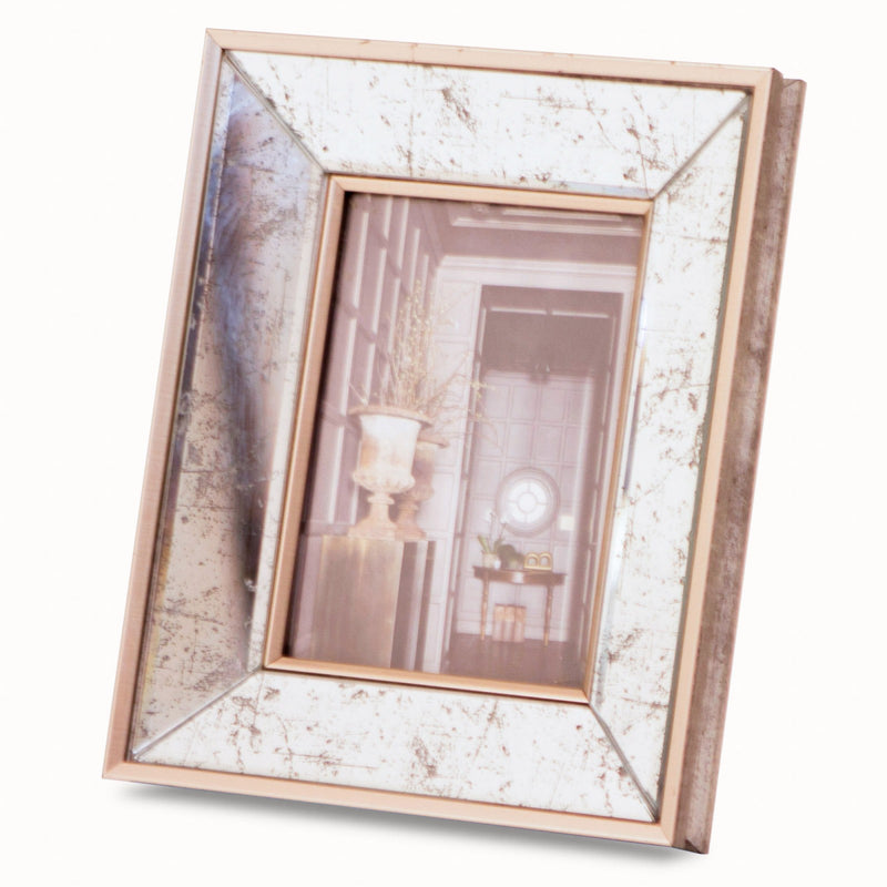 Small antiqued mirror photo frame