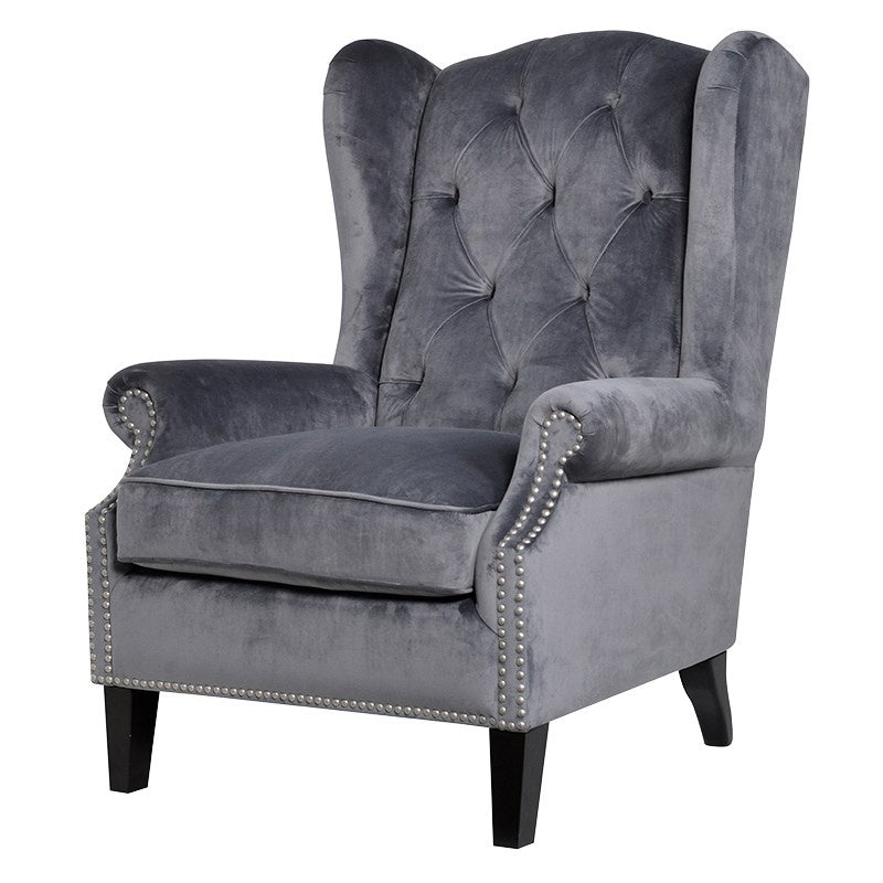 grey button back velvet armchair