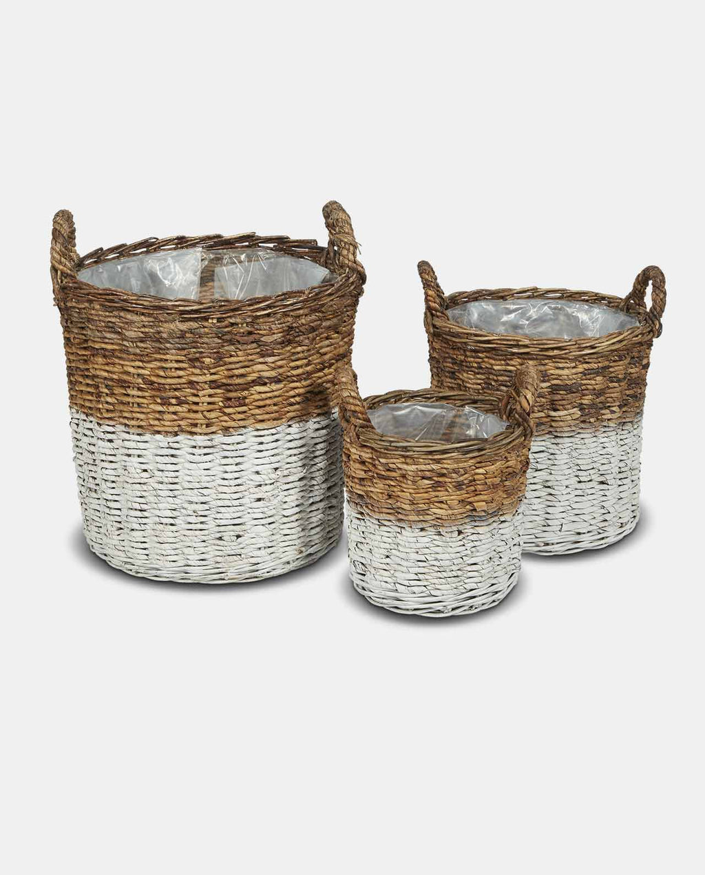 Medium White And Natural Abaca Basket