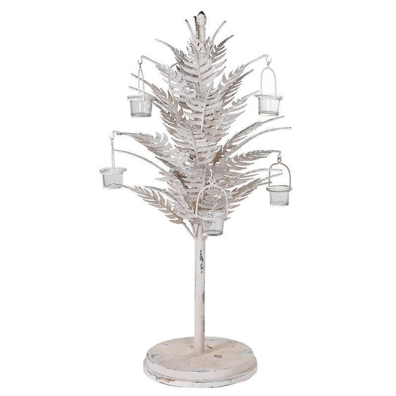 Distressed fern candle holder