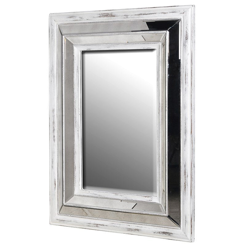 white wood and mirrored frame mirror