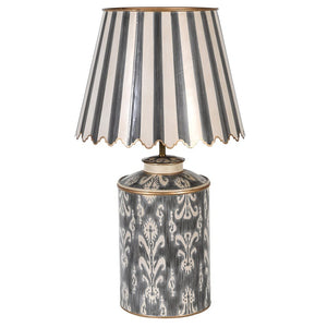 Ivory and grey patterned metal lamp