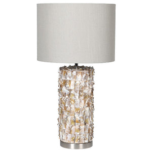 Pearl ceramic lamp with shade